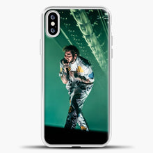 Load image into Gallery viewer, Post Malone Perfomance Blue Smoke iPhone XS Case, White Plastic Case | casedilegna.com