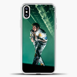 Post Malone Perfomance Blue Smoke iPhone XS Case, White Plastic Case | casedilegna.com