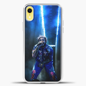 Post Malone Perfome Under Blue Light iPhone XR Case, White Plastic Case | casedilegna.com