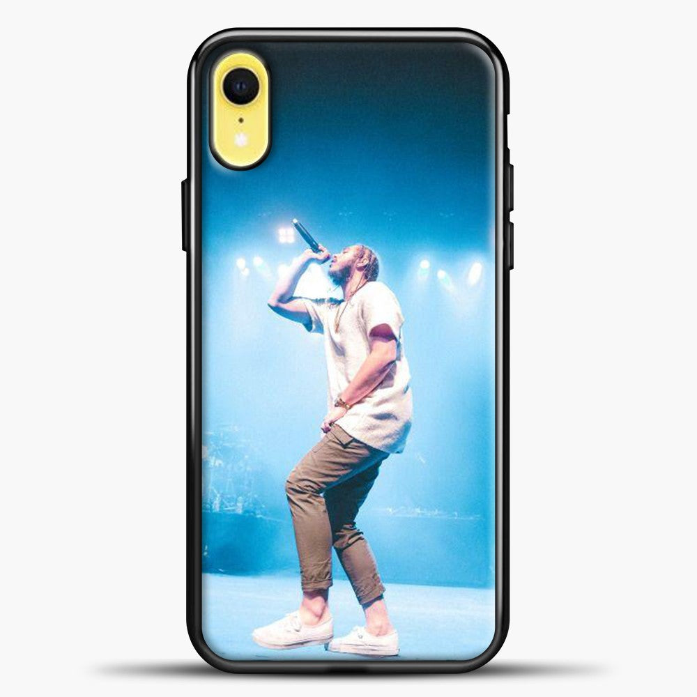 Post Malone Perfome Under The Blue Light iPhone XR Case, Black Plastic Case | casedilegna.com