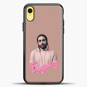 Post Malone Pink Background iPhone XR Case, Black Plastic Case | casedilegna.com