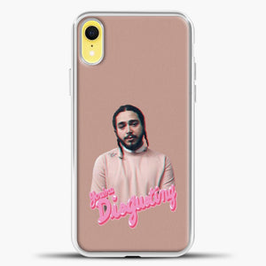 Post Malone Pink Background iPhone XR Case, White Plastic Case | casedilegna.com
