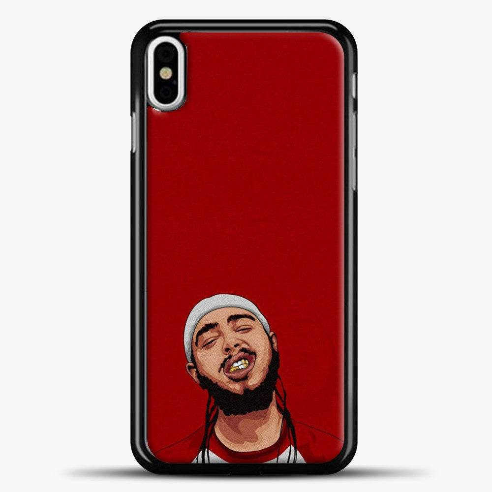 Post Malone Red Background iPhone X Case, Black Plastic Case | casedilegna.com