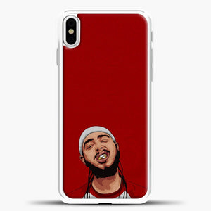 Post Malone Red Background iPhone X Case, White Plastic Case | casedilegna.com
