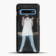 Load image into Gallery viewer, Post Malone Wearing White Clothes Samsung Galaxy S10 Case, Black Plastic Case | casedilegna.com