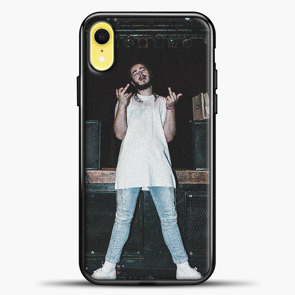 Post Malone Wearing White Clothes iPhone XR Case, Black Plastic Case | casedilegna.com