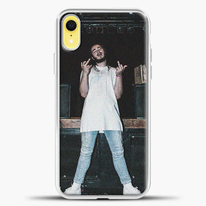Post Malone Wearing White Clothes iPhone XR Case, White Plastic Case | casedilegna.com