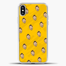 Load image into Gallery viewer, Post Malone Yellow Face Background iPhone XS Max Case, White Plastic Case | casedilegna.com