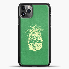 Load image into Gallery viewer, Psych Yellow Image Green Background iPhone 11 Pro Max Case, Black Plastic Case | casedilegna.com
