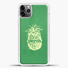 Load image into Gallery viewer, Psych Yellow Image Green Background iPhone 11 Pro Max Case, White Plastic Case | casedilegna.com