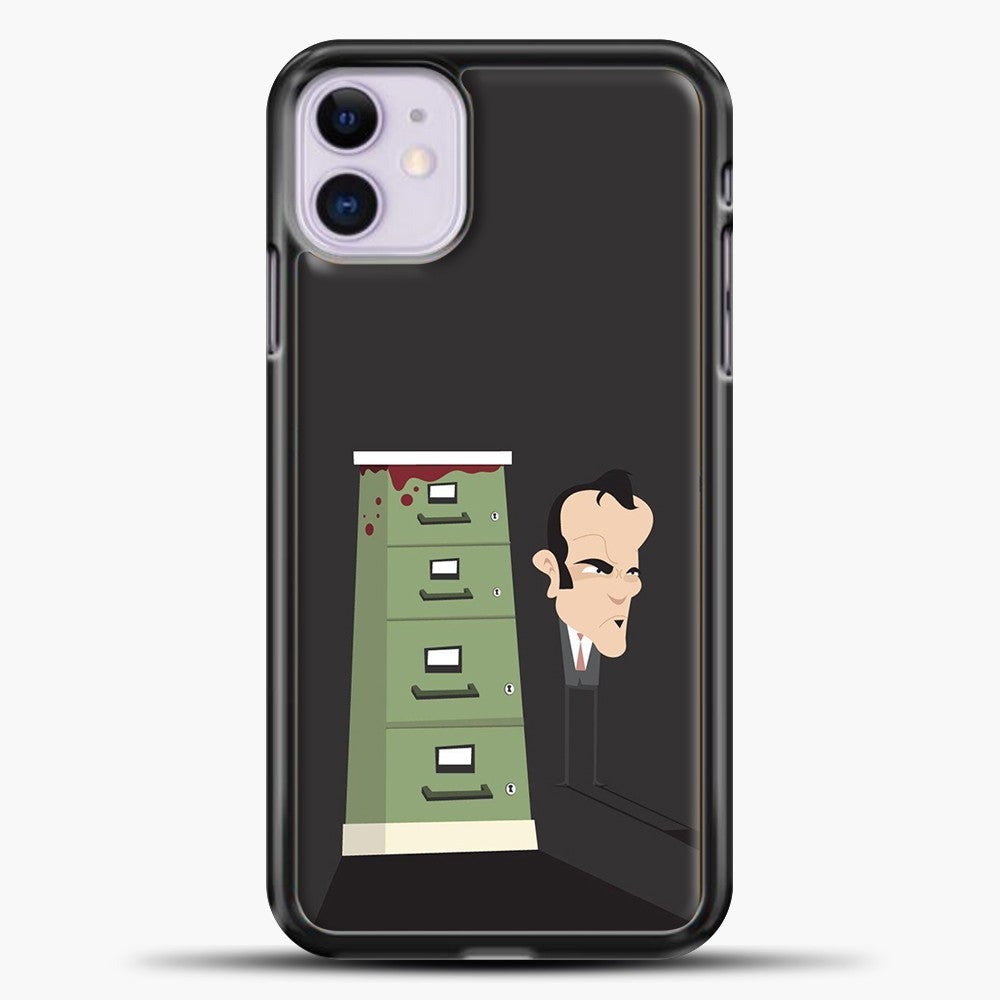 Quentin Tarantino Grey Background iPhone 11 Case, Black Plastic Case | casedilegna.com
