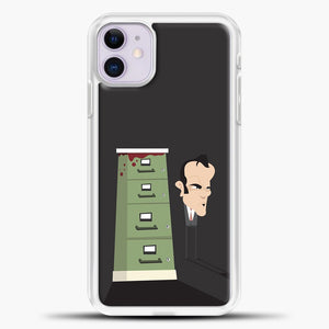 Quentin Tarantino Grey Background iPhone 11 Case, White Plastic Case | casedilegna.com
