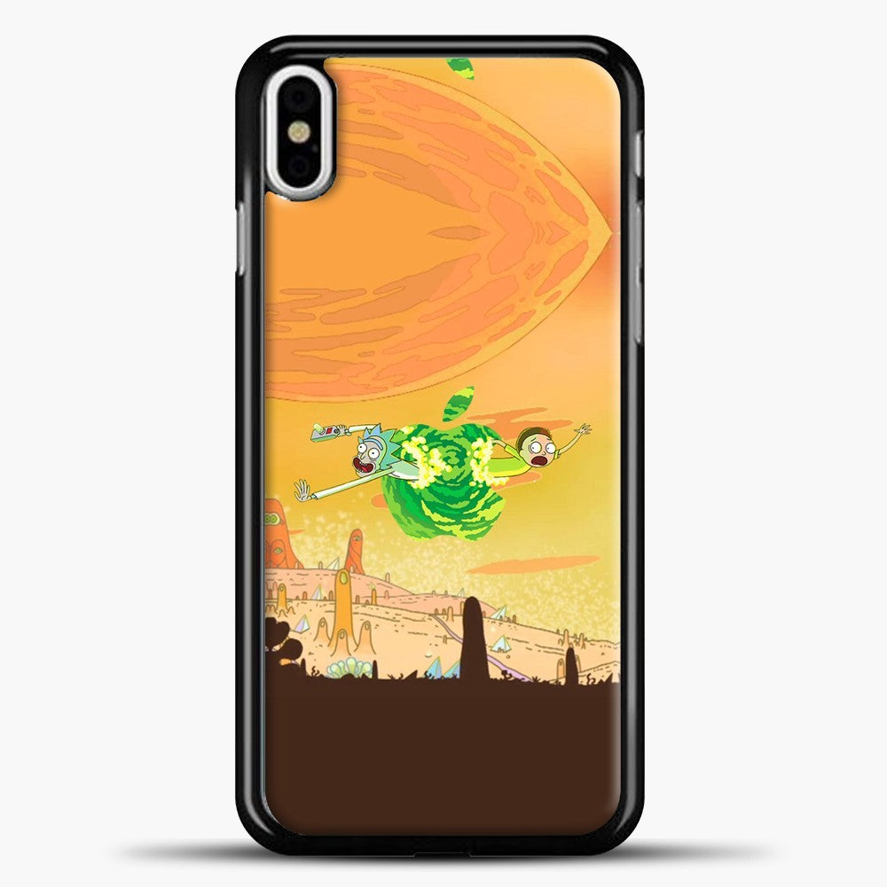 Rick And Morty Green Apple iPhone X Case, Black Plastic Case | casedilegna.com