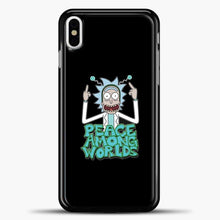 Load image into Gallery viewer, Rick And Morty Pease Among Worlds iPhone X Case, Black Plastic Case | casedilegna.com