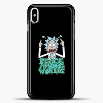 Rick And Morty Pease Among Worlds iPhone X Case, Black Plastic Case | casedilegna.com
