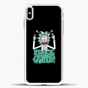 Rick And Morty Pease Among Worlds iPhone X Case, White Plastic Case | casedilegna.com