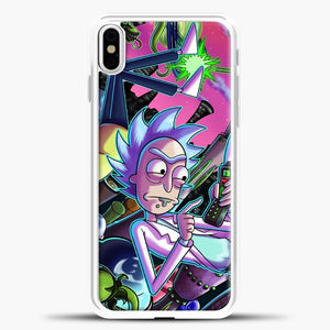 Rick Morty Green Shot iPhone X Case, White Plastic Case | casedilegna.com