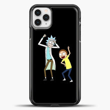 Load image into Gallery viewer, Rick Morty Happy iPhone 11 Pro Case, Black Plastic Case | casedilegna.com
