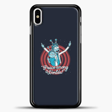 Rick Morty Peace Among Worlds iPhone X Case, Black Plastic Case | casedilegna.com