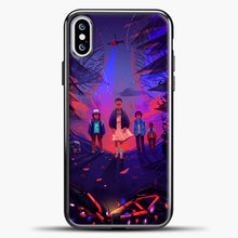 Load image into Gallery viewer, Stranger Things Cartoon Purple iPhone XS Case, Black Plastic Case | casedilegna.com