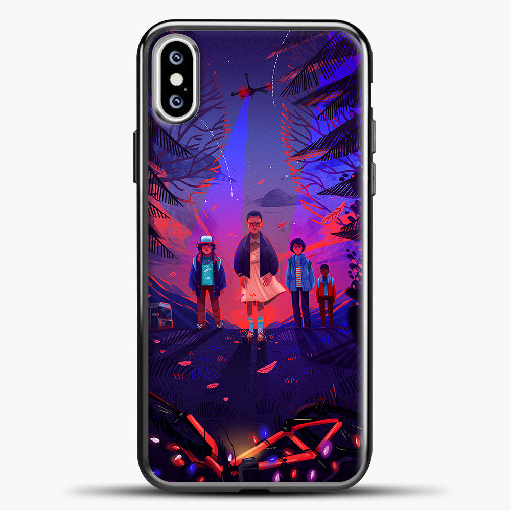 Stranger Things Cartoon Purple iPhone XS Case, Black Plastic Case | casedilegna.com