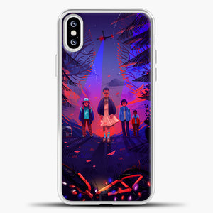 Stranger Things Cartoon Purple iPhone XS Case, White Plastic Case | casedilegna.com