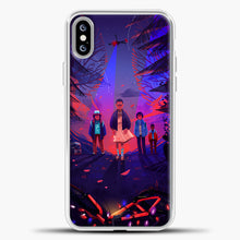 Load image into Gallery viewer, Stranger Things Cartoon Purple iPhone XS Max Case, White Plastic Case | casedilegna.com