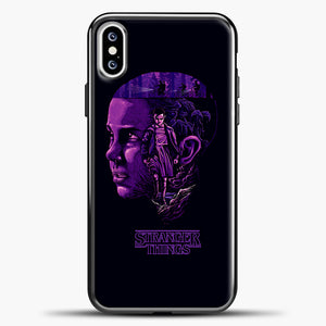 Stranger Things Eleven Purple iPhone XS Case, Black Plastic Case | casedilegna.com