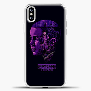 Stranger Things Eleven Purple iPhone XS Case, White Plastic Case | casedilegna.com