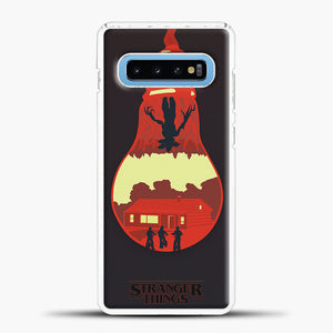 Stranger Things Lamp Red Samsung Galaxy S10 Case, White Plastic Case | casedilegna.com