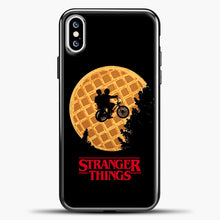 Load image into Gallery viewer, Stranger Things Moon Waffle iPhone XS Case, Black Plastic Case | casedilegna.com