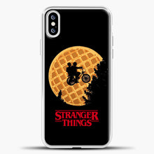 Load image into Gallery viewer, Stranger Things Moon Waffle iPhone XS Case, White Plastic Case | casedilegna.com