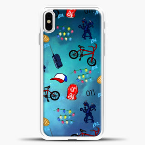 Stranger Things Pattern iPhone X Case, White Plastic Case | casedilegna.com