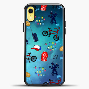 Stranger Things Pattern iPhone XR Case, Black Plastic Case | casedilegna.com