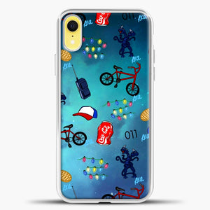 Stranger Things Pattern iPhone XR Case, White Plastic Case | casedilegna.com