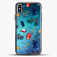 Load image into Gallery viewer, Stranger Things Pattern iPhone XS Case, Black Plastic Case | casedilegna.com