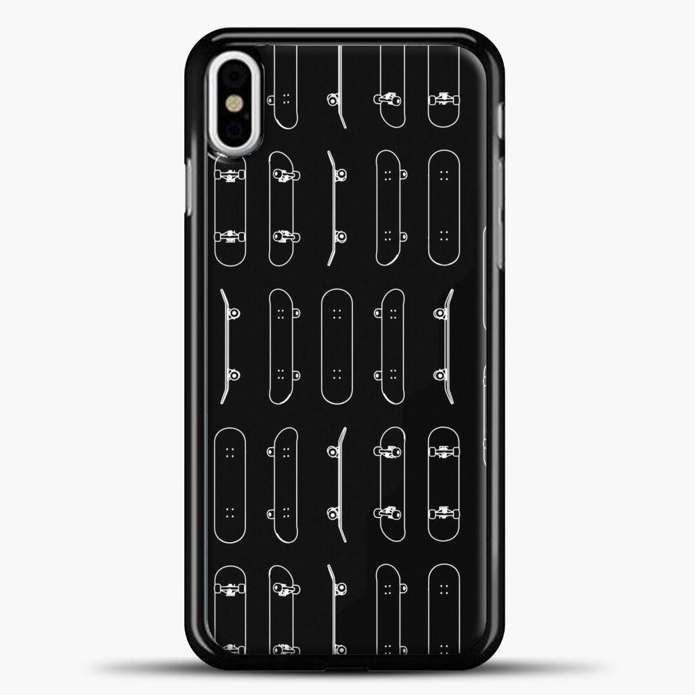 Skateboard Rows White Lines iPhone Case, Black Plastic Case | casedilegna.com