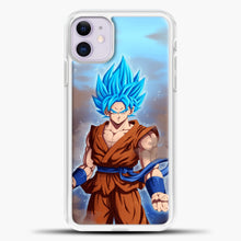 Load image into Gallery viewer, Son Goku Super Saiyan God Blue iPhone 11 Case, White Plastic Case | casedilegna.com