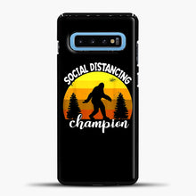 Load image into Gallery viewer, Sosial Distancing Bigfoot Yellow Samsung Galaxy S10 Case, Black Plastic Case | casedilegna.com