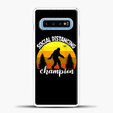 Load image into Gallery viewer, Sosial Distancing Bigfoot Yellow Samsung Galaxy S10 Case, White Plastic Case | casedilegna.com