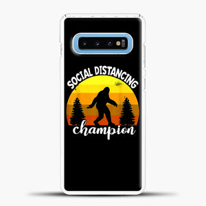 Sosial Distancing Bigfoot Yellow Samsung Galaxy S10 Case, White Plastic Case | casedilegna.com