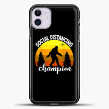 Load image into Gallery viewer, Sosial Distancing Bigfoot Yellow iPhone 11 Case, Black Plastic Case | casedilegna.com