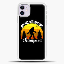 Load image into Gallery viewer, Sosial Distancing Bigfoot Yellow iPhone 11 Case, White Plastic Case | casedilegna.com