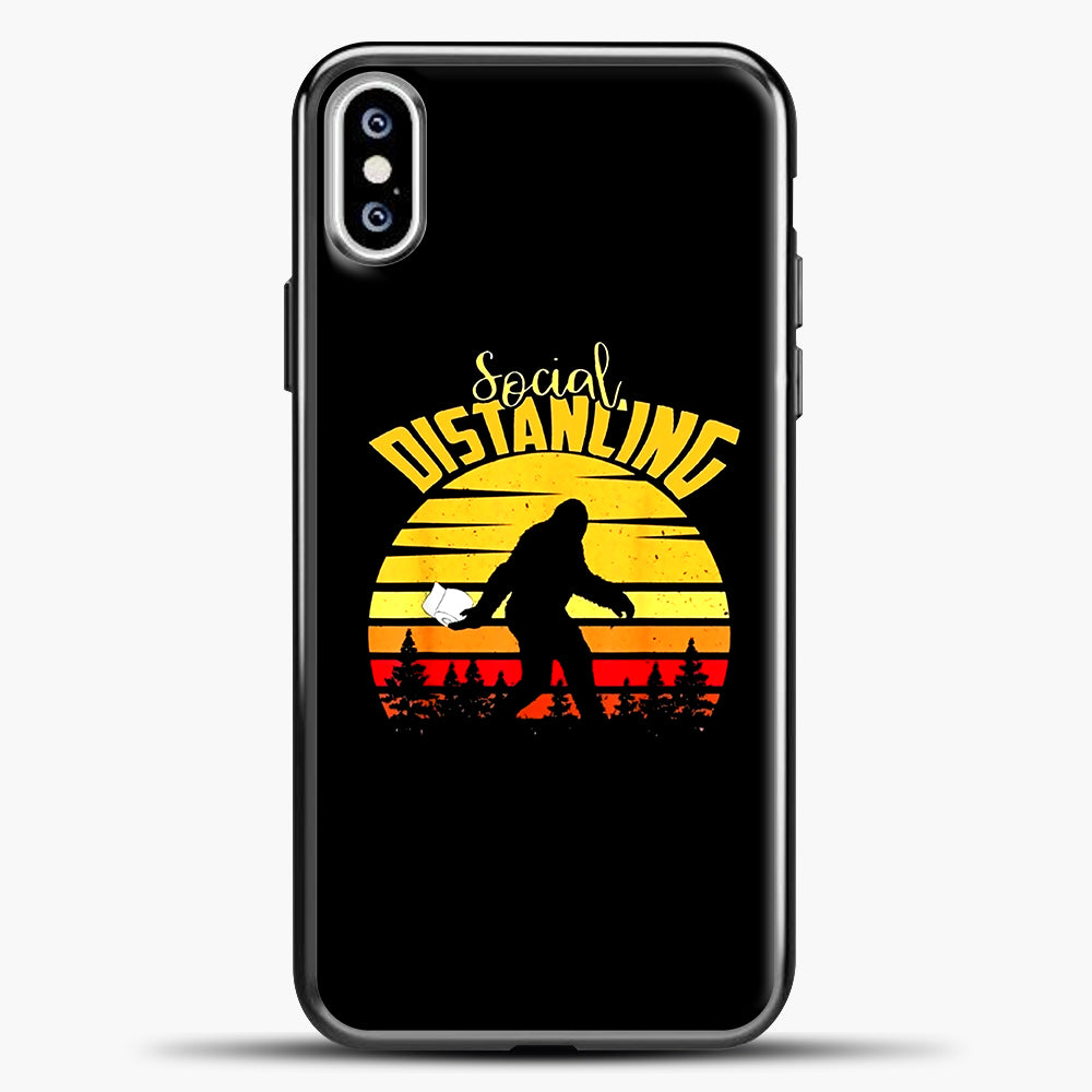 Sosial Distancing Bigfoot iPhone XS Case, Black Plastic Case | casedilegna.com