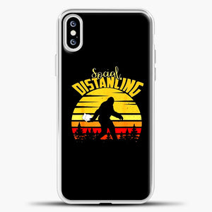 Sosial Distancing Bigfoot iPhone XS Case, White Plastic Case | casedilegna.com