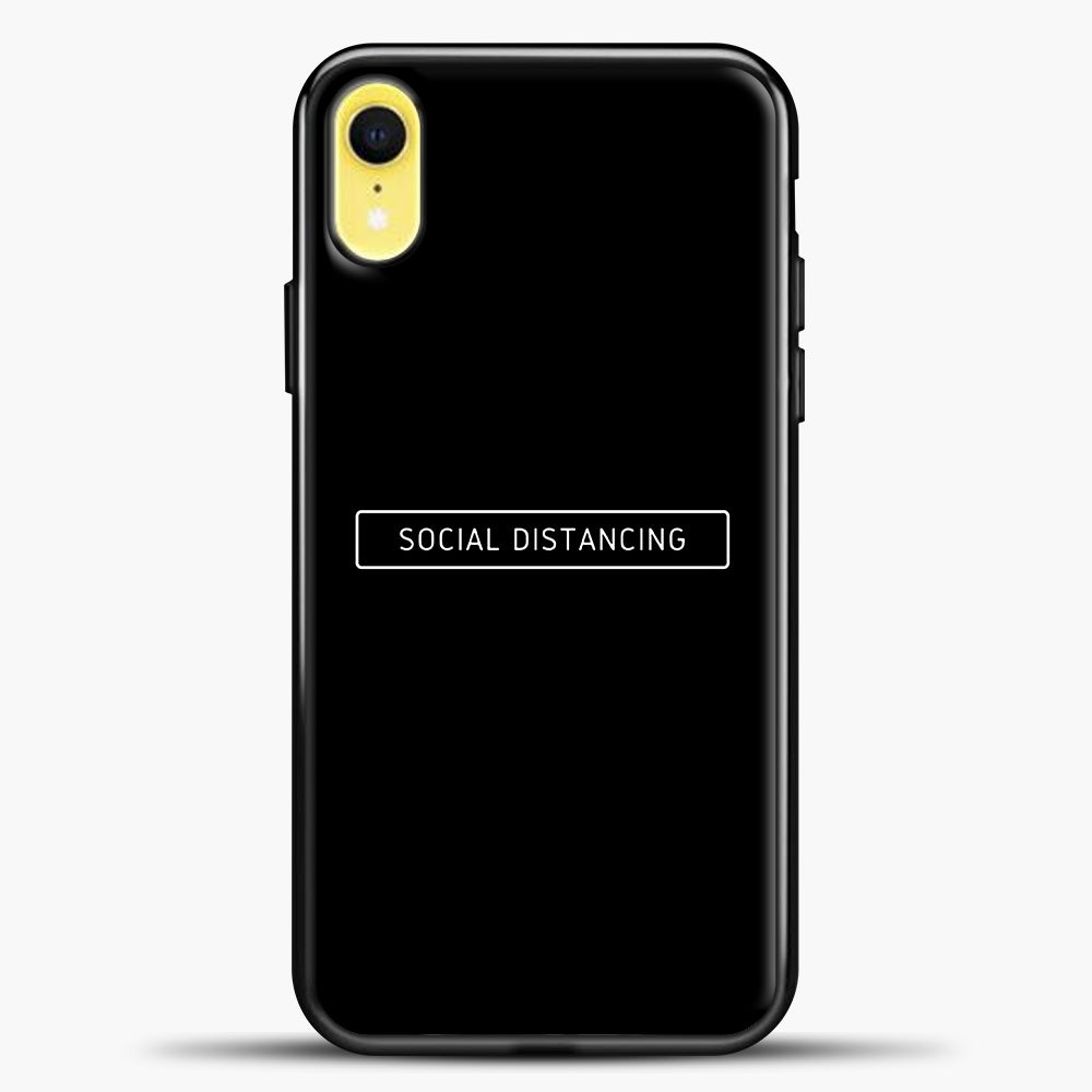 Sosial Distancing Black iPhone XR Case, Black Plastic Case | casedilegna.com