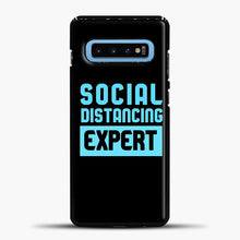 Load image into Gallery viewer, Sosial Distancing Ecpert Blue Samsung Galaxy S10 Case, Black Plastic Case | casedilegna.com