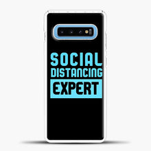 Load image into Gallery viewer, Sosial Distancing Ecpert Blue Samsung Galaxy S10 Case, White Plastic Case | casedilegna.com