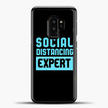 Load image into Gallery viewer, Sosial Distancing Ecpert Blue Samsung Galaxy S9 Case, Black Plastic Case | casedilegna.com