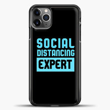 Load image into Gallery viewer, Sosial Distancing Ecpert Blue iPhone 11 Pro Max Case, Black Plastic Case | casedilegna.com